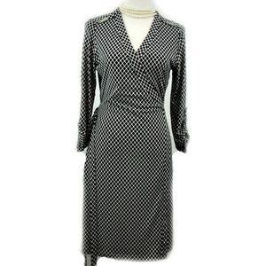 Calvin Klein Wrap Dress Black White Geometric 8